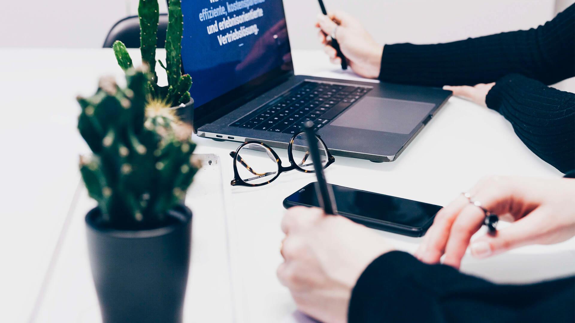Laptop, Kaktus und Brille