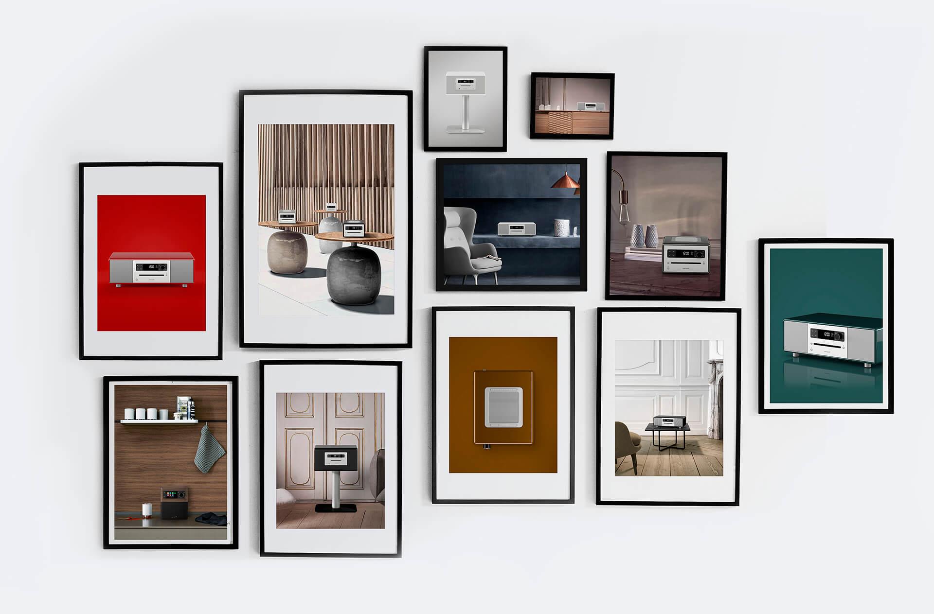 Bilderrahmen als Galerie an der Wand in denen Produktfotos von Sonoro zu sehen sind