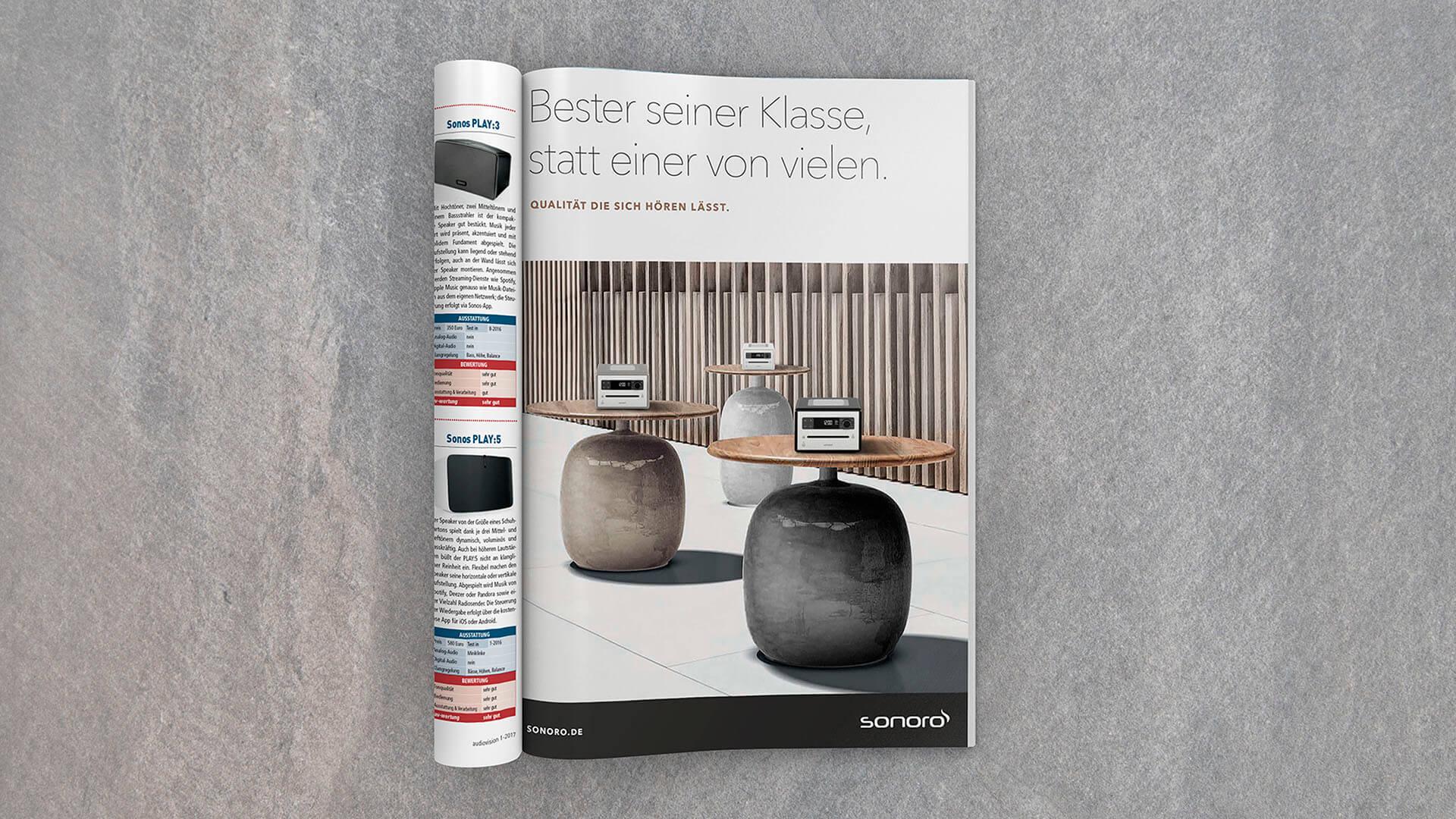 Sonoro Werbung in einem Magazin