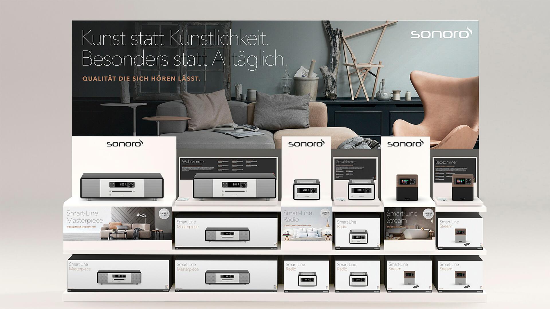 Produktverpackungen von Sonoro Audiogeräten