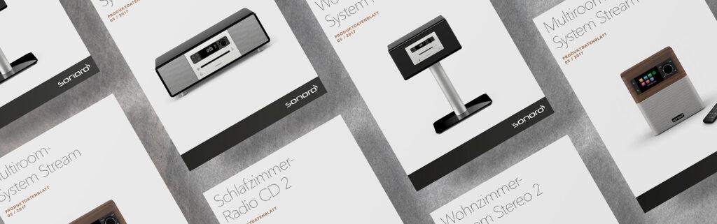 Mockups Broschüren von verschiedenen Sonoro Produkten