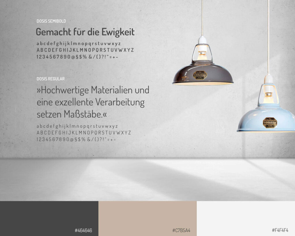Coolicon Typografie und Farbschema