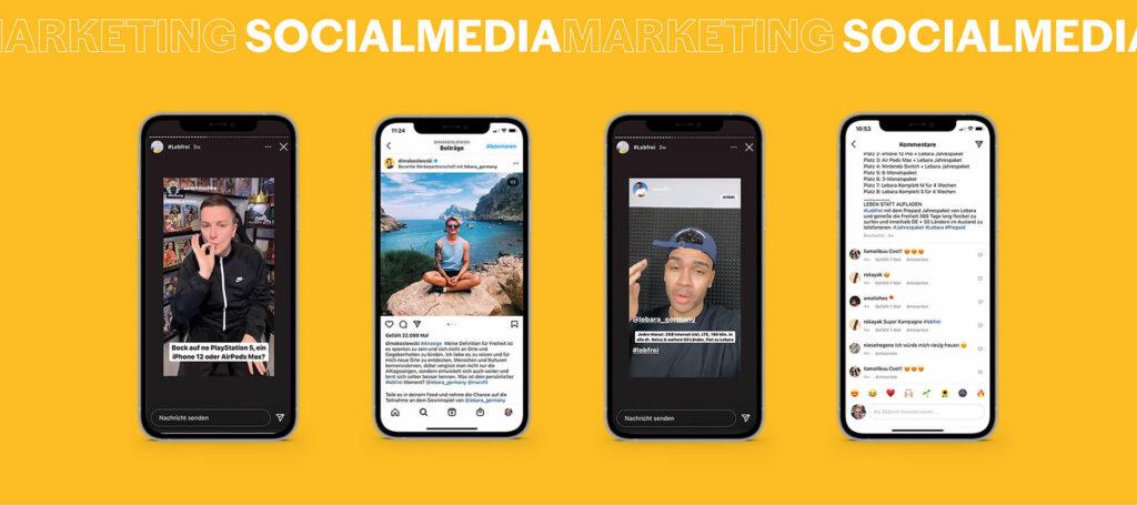 Ipphone MockUps mit Instagram Screenshots der Kampagne