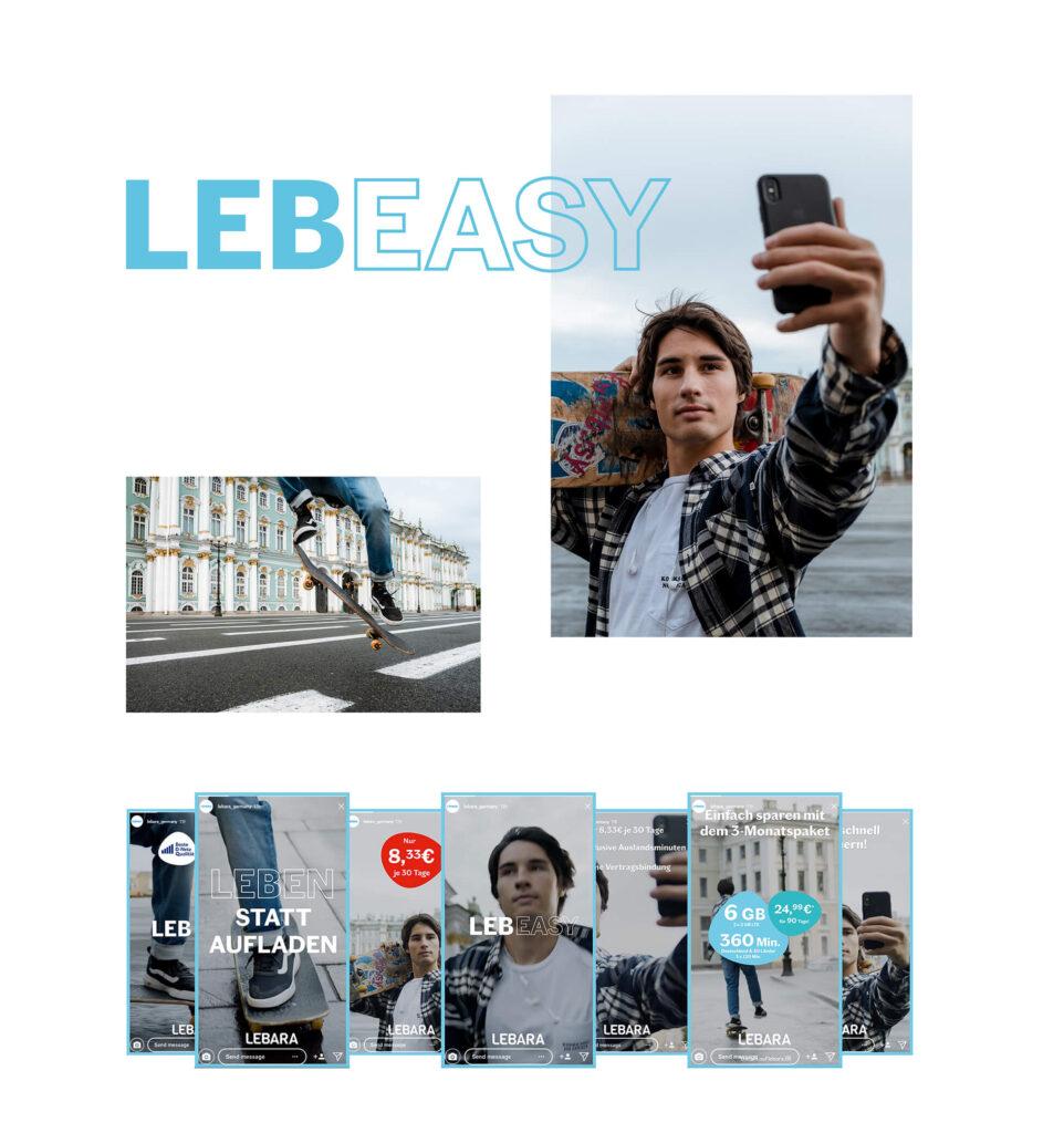 Mood Collage mit Kampagenfotos und Lebara Werbeanzeigen