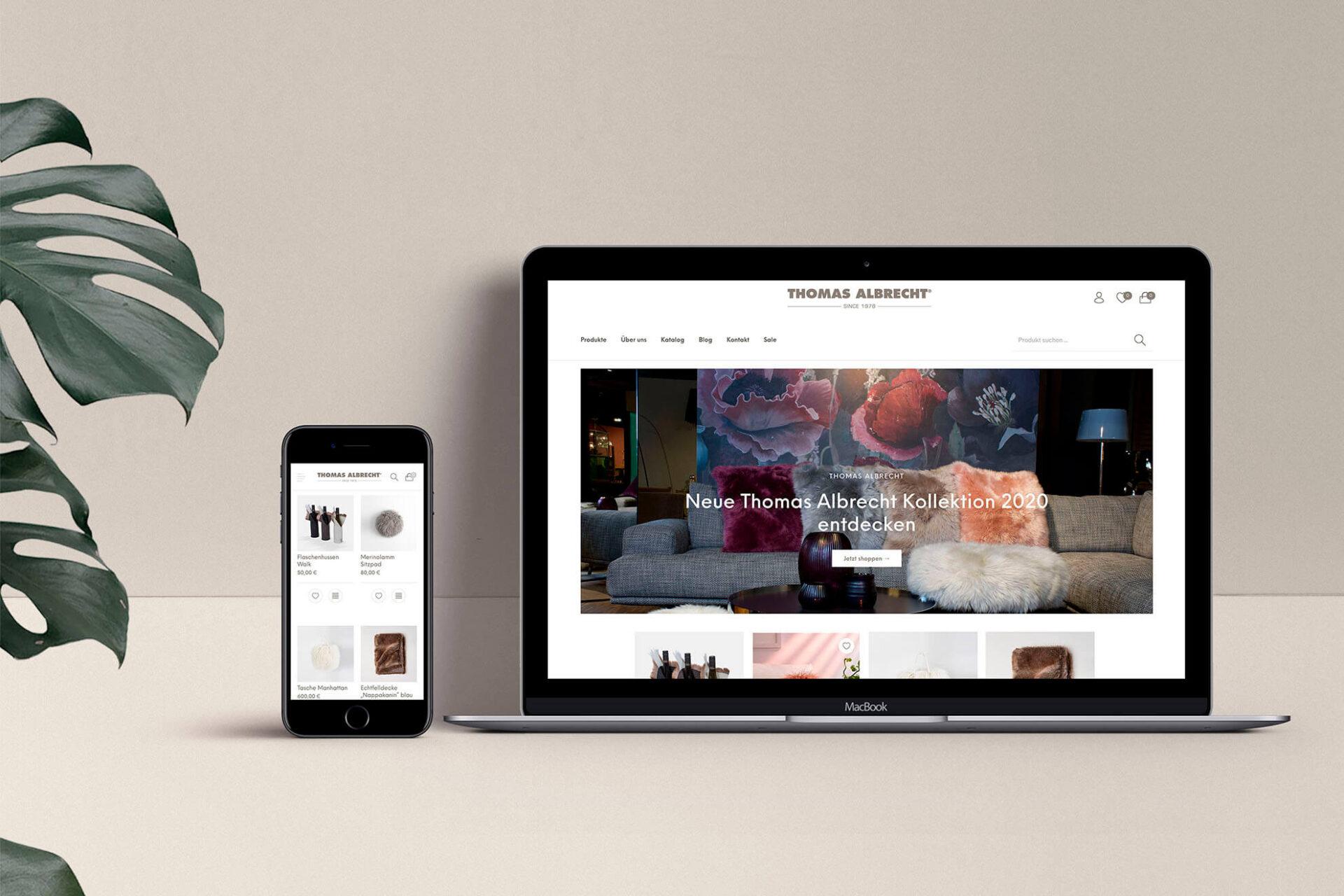 Desktop und mobile Ansicht des Thomas Albrecht Onlineshops