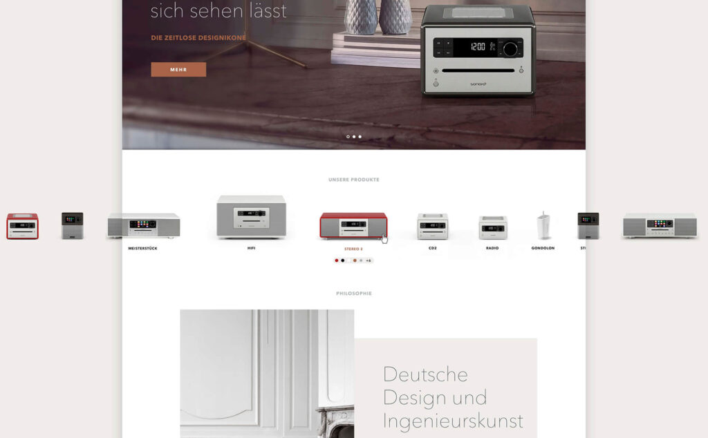 MockUp mit Ausschnitt der Sonoro Webseite