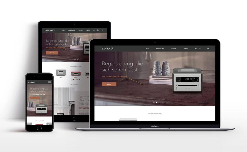 MockUp der Sonoro Webseite eingesetzt in Ipad, Iphone und Macbook