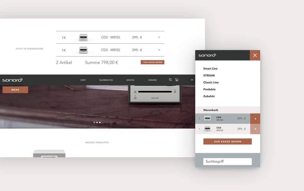 Ansicht des Warenkorbs auf der Sonoro Webseite
