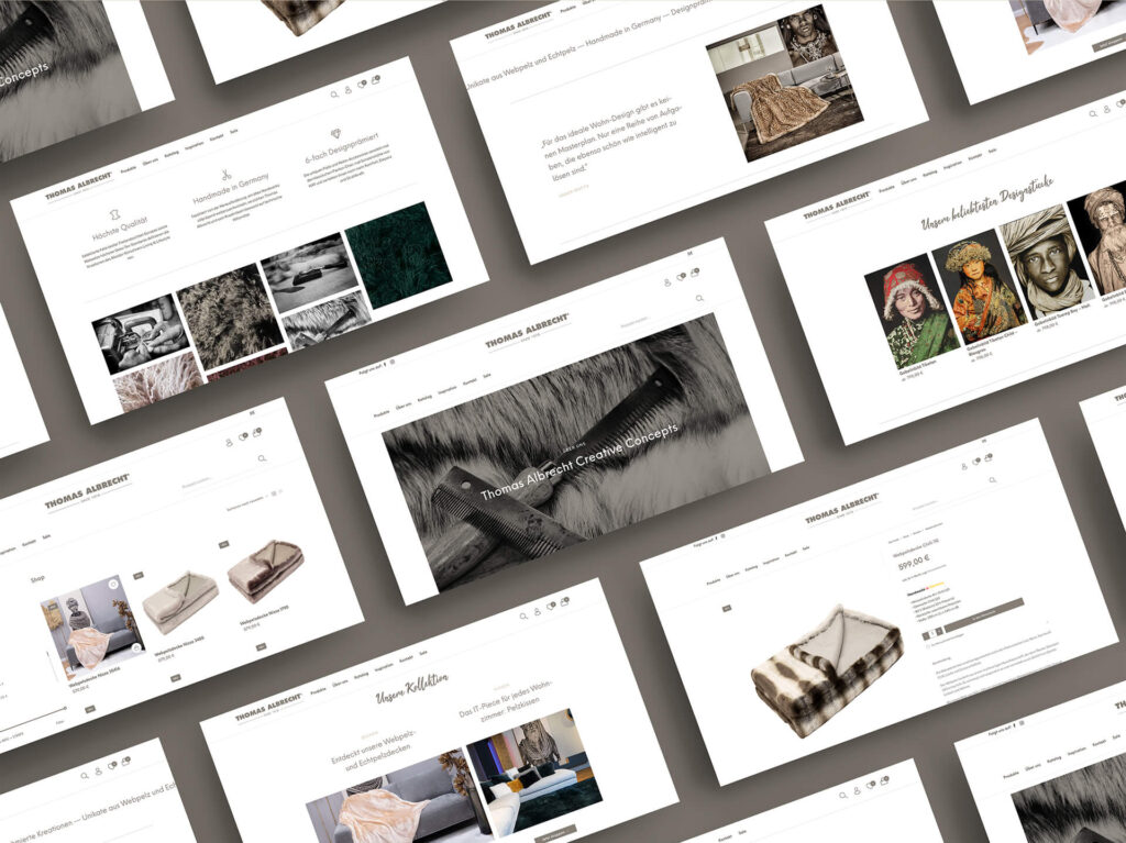 Mockup der Seiten des Thomas Albrecht Onlineshops