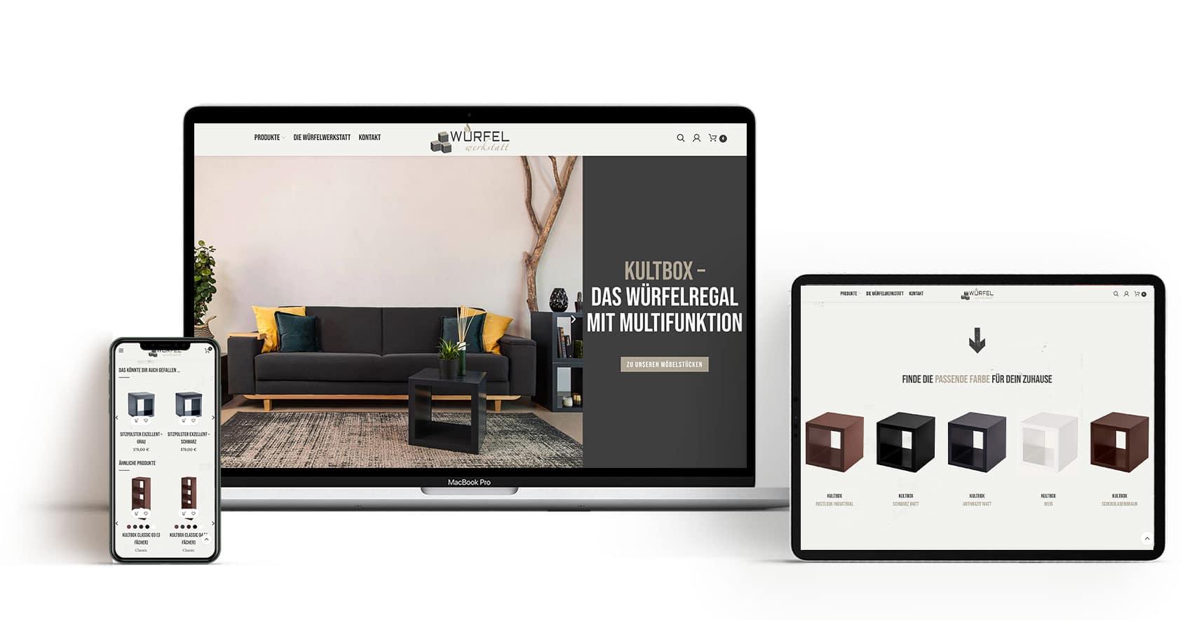 Würfelwerkstatt responsives Design der Webseite