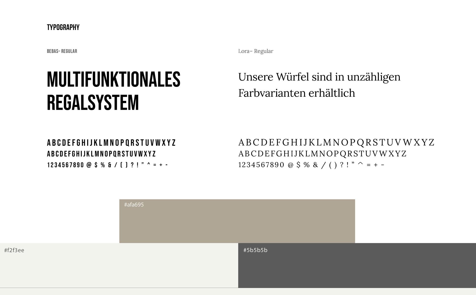 Würfelwerkstatt UI-Kit Schrift und Farben